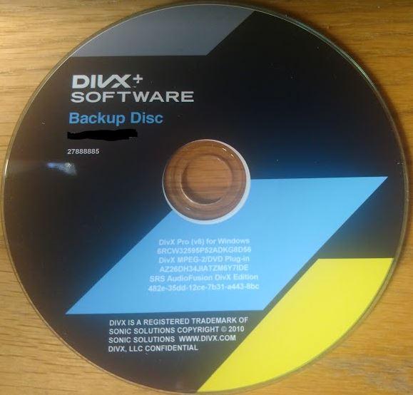 DIVX Software – Backup Disc