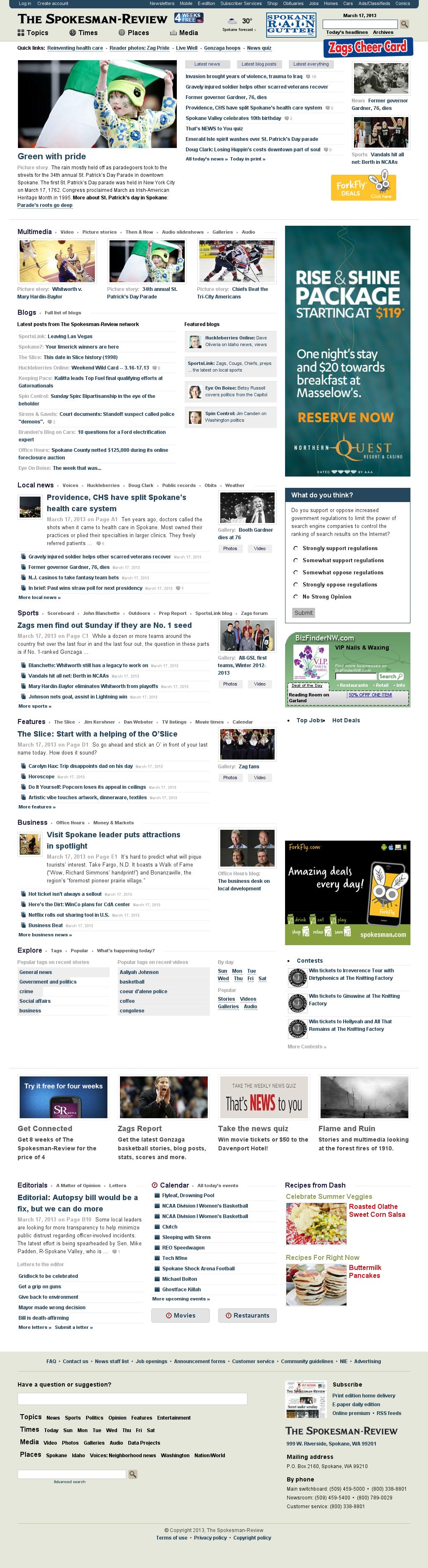The (Spokane) Spokesman-Review at Sunday March 17, 2013, 2:27 p.m. UTC