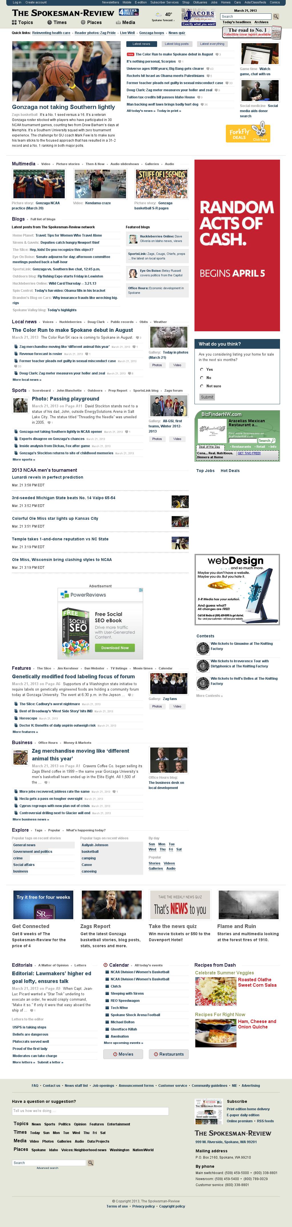 The (Spokane) Spokesman-Review at Thursday March 21, 2013, 8:21 p.m. UTC