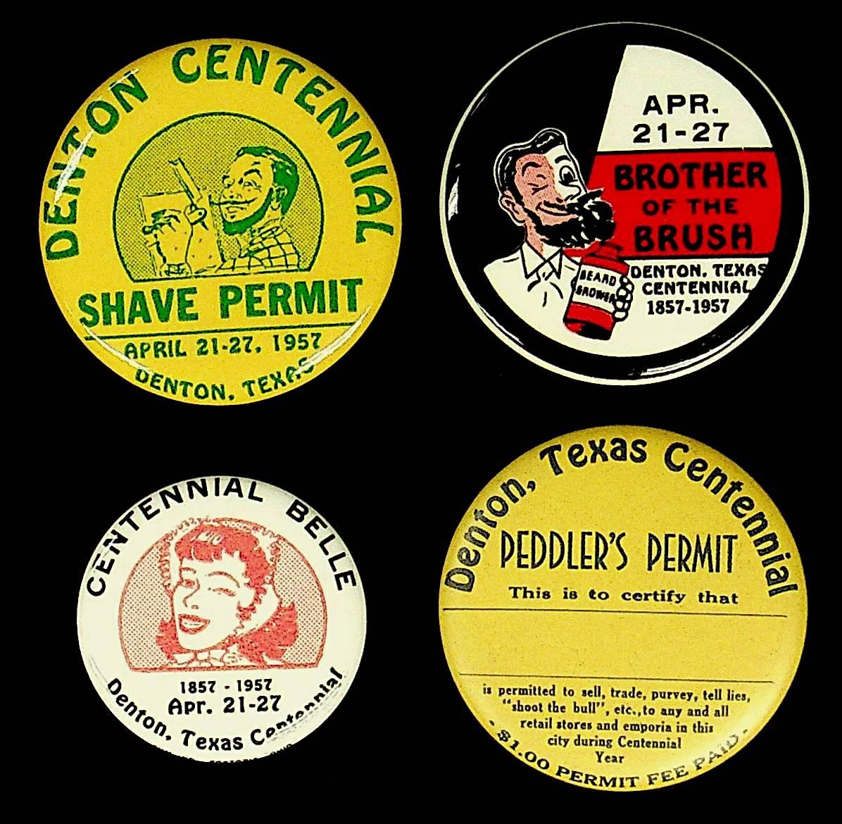 Denton Centennial Buttons