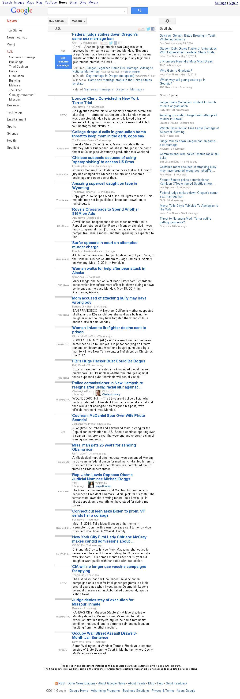 Google News: U.S. at Tuesday May 20, 2014, 12:10 a.m. UTC