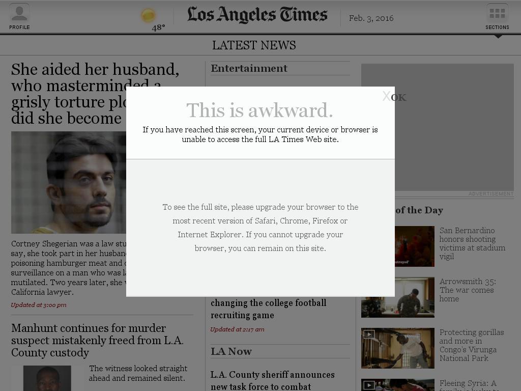 Los Angeles Times at Wednesday Feb. 3, 2016, 4:14 p.m. UTC