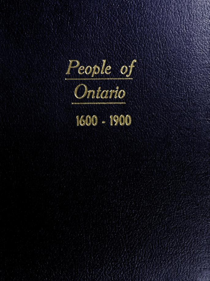 People of Ontario, 1600-1900 by edited by Noel Montgomery Elliot.